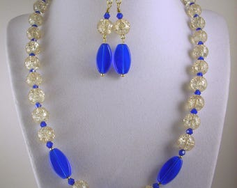 Blue Champagne Necklace and Earrings