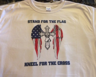 Stand for the Flag Kneel for the Cross Tshirt