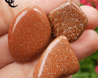 3 Large Tumbled Red Goldstone Stones Crystal Healing Stone