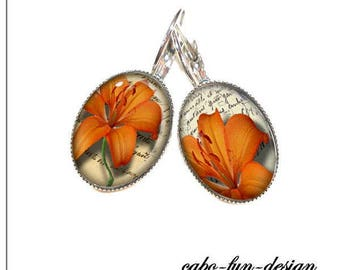 13 x 18 mm cabochon jewelry earrings orange Lily