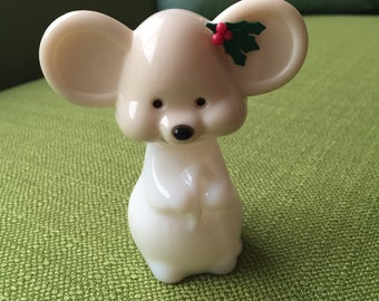Vintage70s Avon Christmas Mouse Perfume Bottle Zany Cologne with Holly