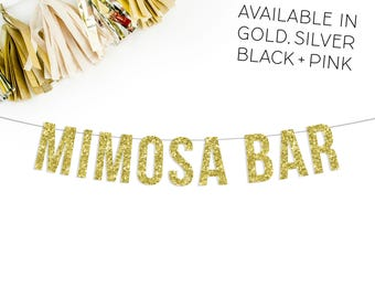 Mimosa Bar Banner | bachelorette party decorations bridal shower brunch mimosa gold silver black pink bubbly bar sign banner champagne
