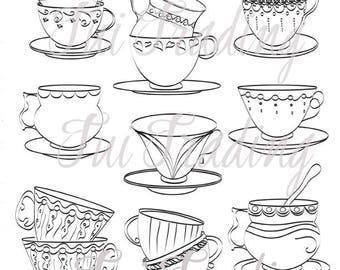 Clipart of Stacked Tea Cups & Saucers, 9 Digital Images for Instant Download, SVG, PDF, JPG formats