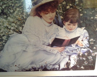 "1980's Sandra Kuck ""The Reading Lesson"" limited edition framed print 22 x 26"
