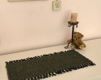 Table Runner or Mat Handwoven in Pure Wool, Forest Green