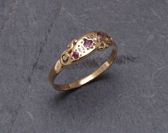 Intricate, vintage ruby and diamond ring