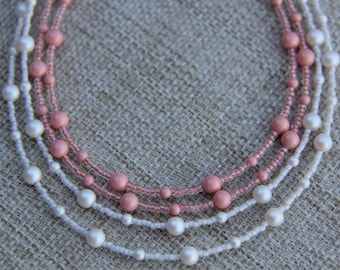 Swarovski pearl necklace two strand white coral with miyuki