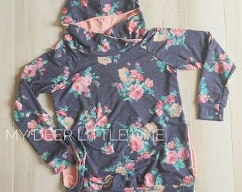 Women's Hooded Sweatshirt,Crossover Hood,Raglan,Made To Order,Floral Print