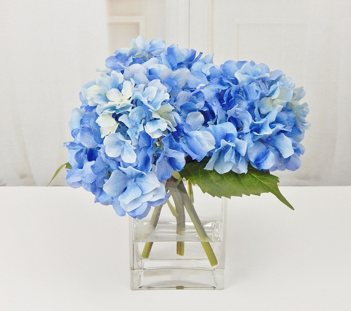 Blue silk hydrangea faux acrylic illusion water real