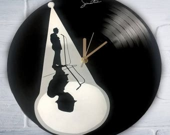 Frank Sinatra painted vinyl record clock