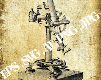 Vector image microscope,Vintage clipart ,Eps,Svg,Ai,Png,Jpg,Instant download,Printable clipart,Digital clipart,Printable B&W Graphic