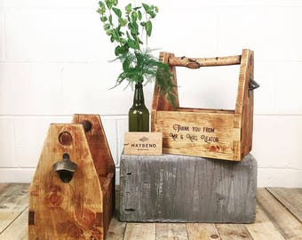 Handmade Wooden Beer / Cider / Wine Bottle Holder / Carrier / Caddy
