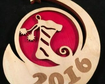 Stocking Wood Ornament, Stocking 2017 Ornament,  Holiday Ornament, Christmas Ornament, Custom Ornament, Wooden Ornament, Engraved Ornament