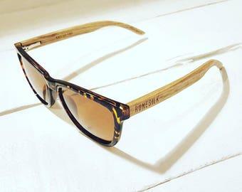 Tortoise Shell Style Sunglasses with Zebra Wood Legs by RUNESILK - Polarised Lenses