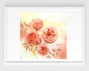 "Original watercolor,flower painting,sweet roses,11""x11"",home decor"
