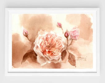 "Original flower watercolor,Peony,blooming peonies,original painting,7""x10"",aquarelle originale,garden,home decor"