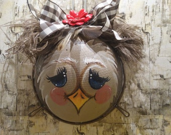 Owl hand painted strainer