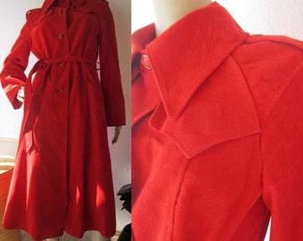 Vintage 70s coat jacket red corduroy coat true vintage S