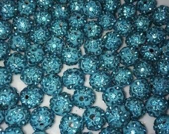 10 mm High Quality Aquamarine Shamballa Beads 20 PC