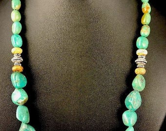 Native American Green Nugget Turquoise Sterling Silver Necklace 20""