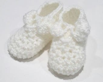 Bow Booties, Handmade, Crocheted, Made to Order