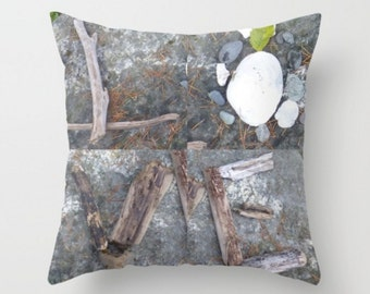 Beach Love Pillow ~ Beach Decor ~ Beach Pillow ~ Casual Pillow  ~ Grey Throw Pillow, Beach Art Pillow Cover, Beach Print, Decorative Pillow