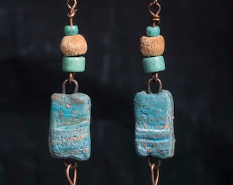 Beach scene earrings with turquoise starfish and polymer clay connectors