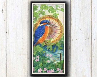 Kingfisher spirit animal bird art print/ bird watcher art print