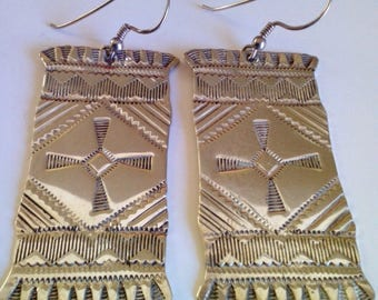 Vintage Hand-Beaten Silver Southwestern Navajo Blanket Earrings