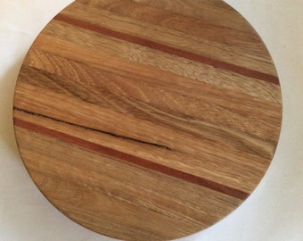 Turned wooden chopping board, handmade from recycled Australian hardwood timber