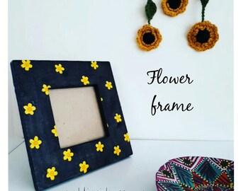 SALE, Flower photo frame, floral, daffodil, sunflower, square frame, frame, yellow, hippie, upcycled, photo frame, boho decor, gypsy, daisy