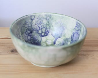 Bubble Glaze Ceramic Bowl – Handmade Pottery Bowl – Blue and Green Bowl – Decorative Bowl – Dinner Bowl
