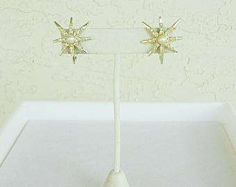 Vintage Emmons Gold Star Earrings
