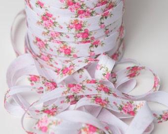 White flower FOE Elastic, pink flower elastic by the yard, printed elastic, fold over elastic, foldover elastic, wholesale elastic supply