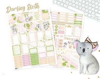 Koala Planner Stickers, Printable weekly kit, Animal stickers, Darling Koala, use with Erin Condren, floral, Spring, pink, glitter, Aussie