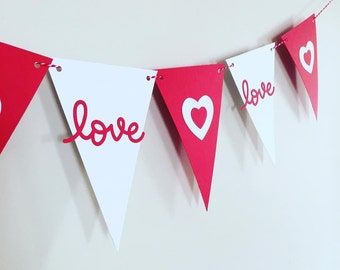 """5.5"""" Love and Heart Bunting / Banner"""