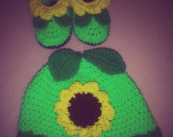 Sunflower Set - Hat & Baby Booties