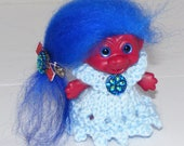 "2.5"" Red Troll Doll, Icelandic Hair, New Eyes, Knit Gown, Panties, Hair Clip"