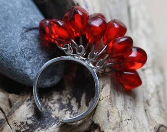 12 Pomegranate Berry Ring - Silver and Glass - Fruit Berries Seeds Pomegranate Garnet Rich Red Saturated Bright