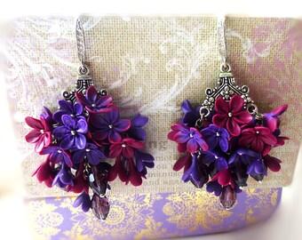 Dark purple earrings Burgundy earrings Maroon flowers earrings Floral earrings Gift for her Vinous earrings