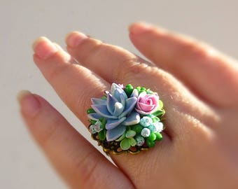 Succulent jewellery Succulent ring Echeveria jewellery Flower ring Cute ring Unusual ring Size adjustable Mint green ring