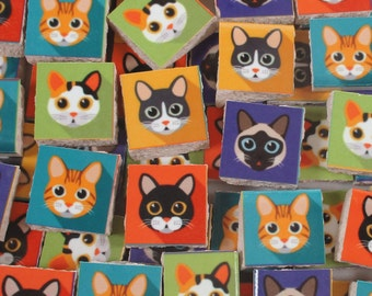 Ceramic Mosaic Tiles - Bright Colors Cat Faces Cats Mosaic Tile 60 Pieces Mosaic Cats - For Mosaic Art / Mixed Media Art/Jewelry