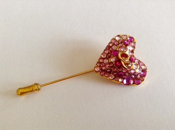 Vintage Christian Lacroix heart shape pin, light and dark pink tone rhinestones pin, logo pin