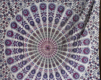 Twin Fabric with Mandala - Colors include purple, blue and more-  Tapestry College, Hippy, Wall hanging, Bohemian Boho