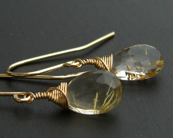 Rutilated quartz earrings gold plated goldfill earrings, golden rutile quartz, faceted drops, made to order
