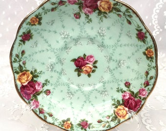 Royal Albert Old Country Roses Peppermint Damask Tea Cup Saucer
