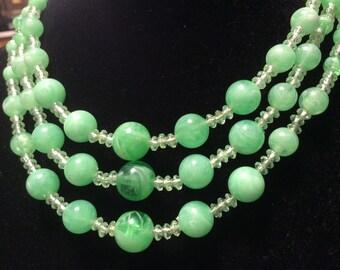 Green Multi Strand Retro Necklace 50s