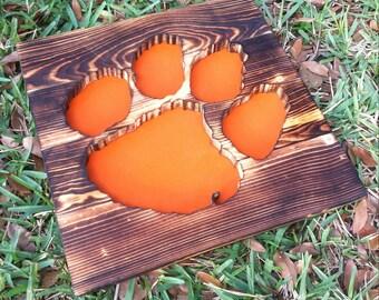 Clemson University Tigers Wood Burned Sign - Reclaimed Wood