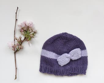 Knitted baby girl hat, knit baby hat with bow, purple hat mauve bow, photo prop baby hat, cotton acrylic hat