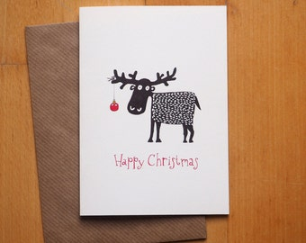 """Black reindeer"" Christmas card / / lettering: German or English / / Christmas greeting card with envelope"